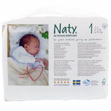 Naty, Diapers, Size 1, 4-11 lbs (2-5 kg), 26 Diapers(pack of 6)