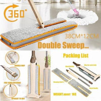 Womail Useful Double-Side Flat Mop Hands-Free Washable Mop Home Cleaning Tool Lazy