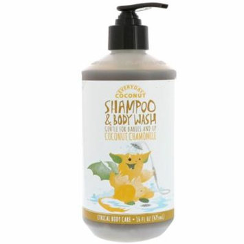 Everyday Coconut, Shampoo & Body Wash, Gentle for Babies and Up, Coconut Chamomile, 16 fl oz (pack of 4)