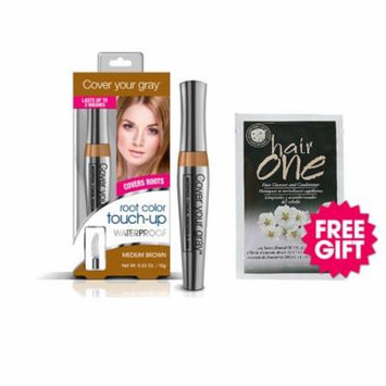 Cover Your Gray Waterproof Root Touch-Up - Medium Brown with BONUS Almond Hair Cleanser Packette