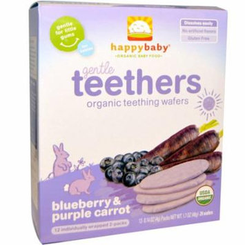 Nurture Inc. (Happy Baby), Gentle Teethers, Organic Teething Wafers, Blueberry & Purple Carrot, 12- (2 Packs), 0.14 oz (4 g) Each(pack of 4)