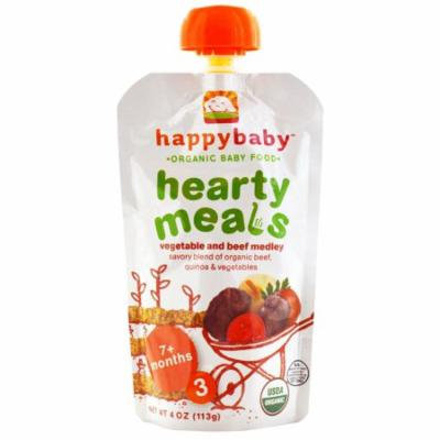 Nurture Inc. (Happy Baby), Organic Baby Food, Hearty Meals, Vegetable and Beef Medley, 7+ Months, Stage 3, 4 oz (pack of 4)