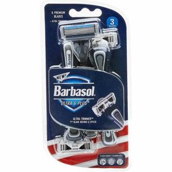 3 Pack - Barbasol Ultra 6 Plus Premium Disposable Razor 3 ea