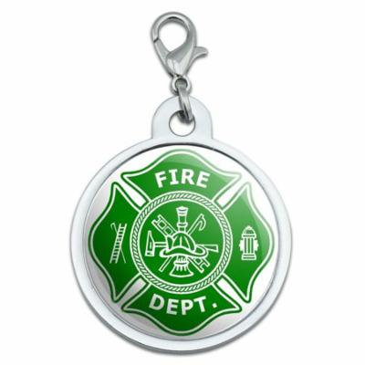 Firefighter Firemen Maltese Cross - Green Large Metal ID Pet Dog Tag