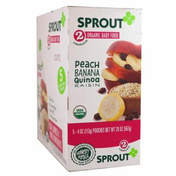 Sprout Organic, Baby Food, Stage 2, Peach, Banana, Quinoa, Raisin, 5 Pouches, 4 oz (113 g) Each(pack of 3)