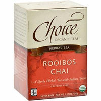 Choice Organic Teas Herbal Tea Rooibos Chai - Caffeine Free - Case of 6 - 16 Bags