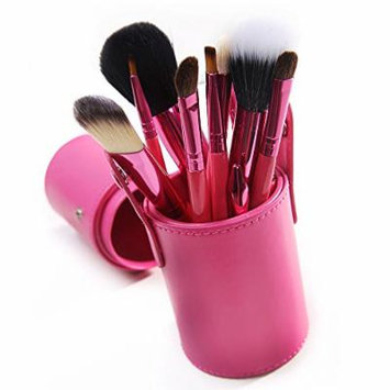 Lychee Women 12pcs Soft Professional Makeup Brushes Cosmetic Make Up Brush Set Kit Foundation with Cup Holder Case (12Pcs Red)