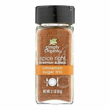 Simply Organic Spice Right Cinnamon Sugar Trio - Case of 6 - 3.1 oz.