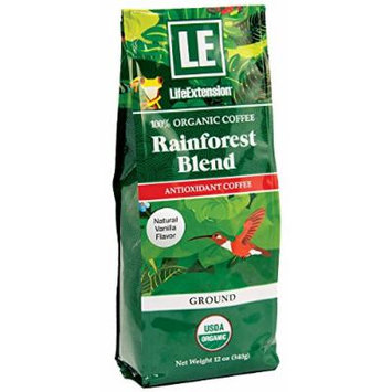 Life Extension Rainforest Blend Ground Coffee, Natural Vanilla, 12 Ounce