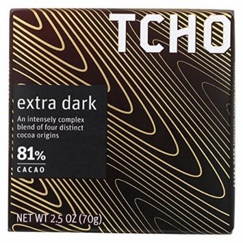 Tcho Chocolate Dark Chocolate Bar - Extra Dark 81 Percent Cacao - Case of 12 - 2.5 oz