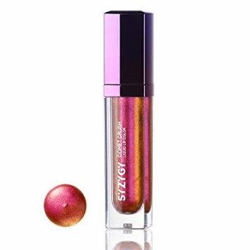 SYZYGY Liquid Lipstick, Duochrome Holographic Long Lasting Metallic Lip Color, Iridescent Glitter Lip Gloss, Crazy Peach