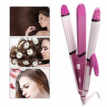 Multifunction Hair Straightener and Curler, 3 in 1 Ceramic Hair Curling Iron Tool Flat Iron Corn Rolls Not Hurt Hair, 1.2 Inch Plate Auto Shut Off Dual Voltage