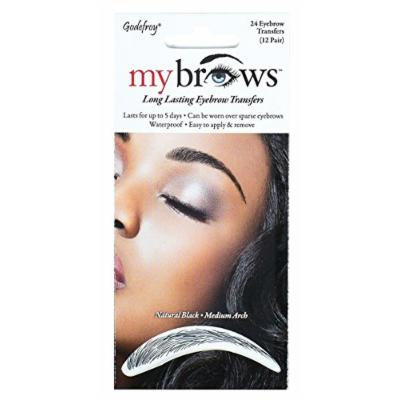 Godefroy My Brows Natural Black Medium Arch (12 Pairs) (6 Pack)