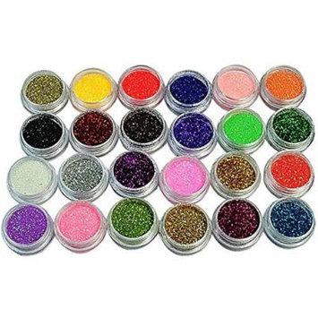 Nail Art Glitter - 24 Colors/Set Nail Glitter Powder Dust 3D Tip Nail Art Manicure Tools Nail Art Decoration Powder Dust Gem Decoration