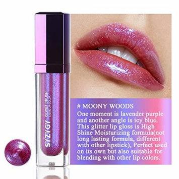 SYZYGY Lip Gloss, Duochrome Holographic Long Lasting Lip Topper, Iridescent Metallic Glitter Lip makeup,Moony Woods