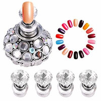 Magnetic Nail Tip Practice Stand Base Lotus Holder Nail Art Display Manicure Tools (Silver)
