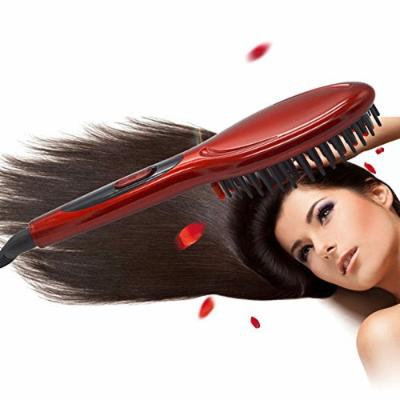 Hot Electric Hair Straightener Comb Iron Brush Auto Fast Hair Massager Tool (Red)