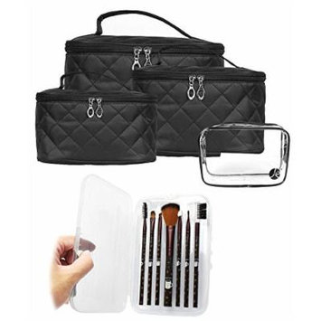 (4 PCS Size Set) Quilted Makeup Travel Storage Cosmetic Organizer Bag + (7 PCS) Cosmetic Beauty (COFFEE) Brush Set Case