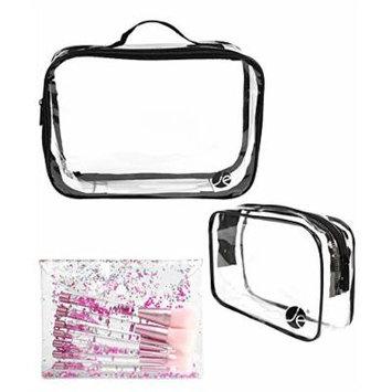 (4 PCS SET): 7 PCS Liquid Glitter Acrylic Handle Makeup Brush Set W/Glitter Bag + (1 PCS) Large (1 PCS) Small Clear Bags