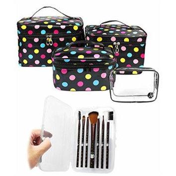 JE (4 PCS Size Set) Mix Colored Polka Dot Makeup Travel Storage Cosmetic Organizer Bag + (7 PCS) COFFEE Brush Set Case