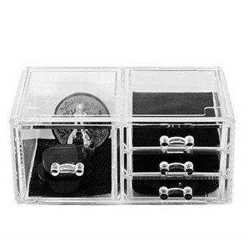 Unique Home Acrylic Jewelry & Cosmetic Storage Makeup Organizer, 4 Drawer Box