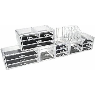Unique Home Acrylic Jewelry & Cosmetic Storage Makeup Organizer Display Box 5 Piece Set (Clear New)