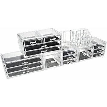Unique Home Acrylic Jewelry & Cosmetic Storage Makeup Organizer Display Box 5 Piece Set (Clear New)