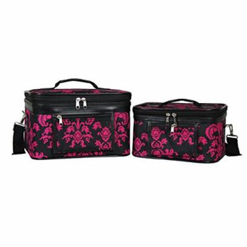 World Traveler Women's 2-Piece Cosmetic Case Set, Black Pink Damask
