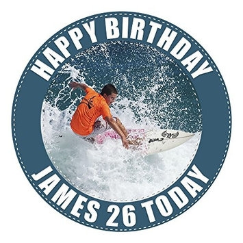 Surfer Surfing Cake Topper 7.5 Inch PERSONALISED Edible on Icing Sheet with HIGH RESOLUTION BACKGROUND IMAGE by Graphic Flavour
