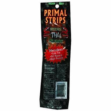 Primal Strips Vegan Jerky - Meatless - Seitan - Thai Peanut - 1 oz - Case of 24 - Vegan - No MSG added