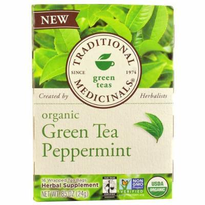 Traditional Medicinals Tea - Organic - Green Tea - Ppprmnt - 16 ct - 1 Case - 95%+ Organic -