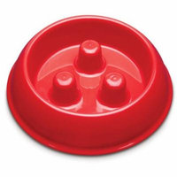 Dog Food Bowl, Small Brake-fast Plastic Cute Decorative Outdoor Dog Bowl, Red