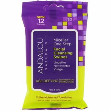 Andalou Naturals, Age Defying, Micellar One Step Facial Cleansing Swipes, 12 Pre Moistened Towelettes(pack of 6)