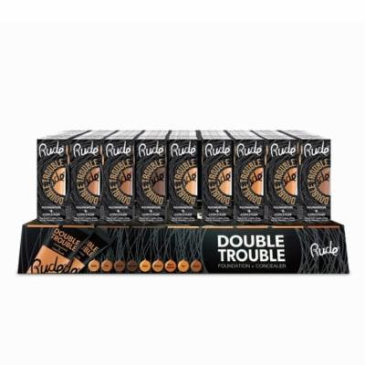 RUDE Double Trouble Foundation + Concealer Acrylic Display Set, 108 Pieces