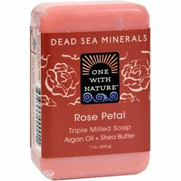 4 Pack - One With Nature Soap Bar, Rose Petal 7 oz