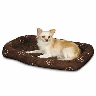 Embroidered Pawprint Bolster Beds for Dogs Soft Dog Crate Bed with Paw Print !(Small - 23¾