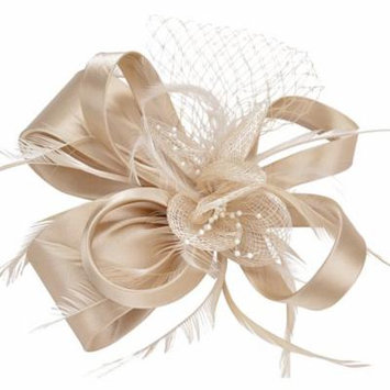 Fascinators for Women, Fascigirl Charm Flower Feather Netting Headpieces Wedding Party Hair Accessories (Champagne)
