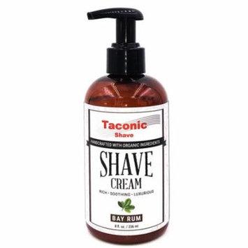 Taconic Shave BAY RUM Shaving Cream , Pump Bottle, High Lather Forumla, 8 oz