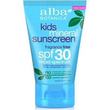 4 Pack - Alba Botanica Kids Mineral Sunscreen SPF 30 4 oz