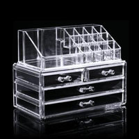 Clear Acrylic Makeup Cosmetic Drawers Grids 2 Tiers Display Desktop Home Storage Containers MAEHE