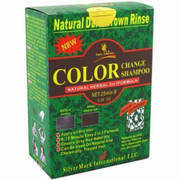 6 Pack - Deity America Natural Herbal 2in1 Formula Color Change Shampoo, Dark Brown Rinse 6 ea
