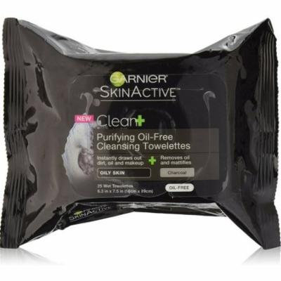 6 Pack - Garnier SkinActive Clean+ Purifying Oil-Free Cleansing Towelettes 25 ea