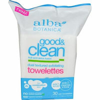 Alba Botanica, Good & Clean, Dual Textured Exfoliating Towelettes, Oil Free, 30 Wet Towelettes(pack of 12)
