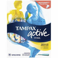 4 Pack - Tampax Pearl Active Plastic Unscented Tampons, Regular Absorbency 18 ea