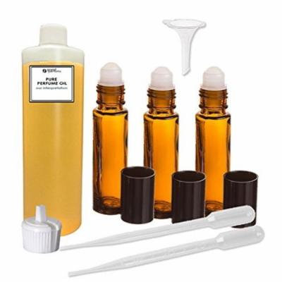Grand Parfums Perfume Oil Set - Amber-White - Our Interpretation, with Roll On Bottles and Tools to Fill Them (2 Oz)
