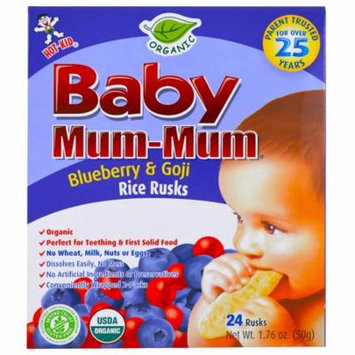 Hot Kid, Baby Mum-Mum, Organic Rice Rusk, Blueberry & Goji Rice Rusks, 24 Rusks, 17.6 oz (50 g) Each(pack of 12)