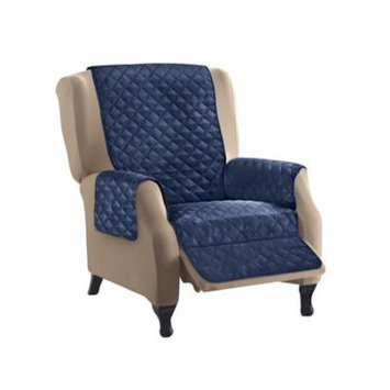 Reversible Quilted Furniture Protector Cover, Recliner, Navy/Silver