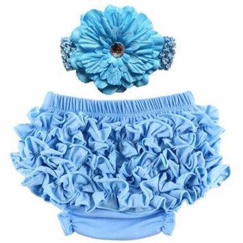 Baby Girl Cute Ruffle Bloomers Diaper Covers with Flower Headband (Light Blue, L)