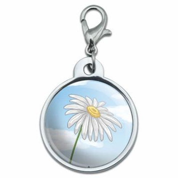 White Daisy on Blue Sky - Flower Small Metal ID Pet Dog Tag