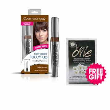 Cover Your Gray Waterproof Root Touch-Up - Dark Brown with BONUS Almond Hair Cleanser Packette